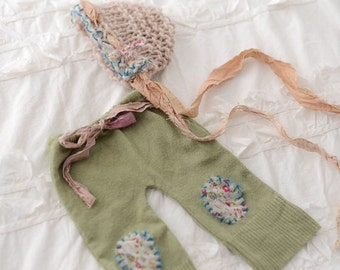 Up cycled pants and knitted hat set