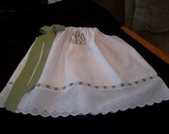 Girl White Dress-Girl White Eyelet Pillowcase Dress-Girl Personalized Dress- Portraits, Weddings,Flower Girl, Easter, Baptism ,Christening