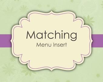 Matching Menu Inserts - Digital File
