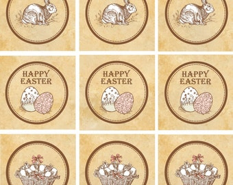 Vintage Easter Cupcake Toppers - 2 Inch Printable Easter Favor Tags