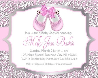 Baby Shoes Printable Baby Shower Invitation for Girl