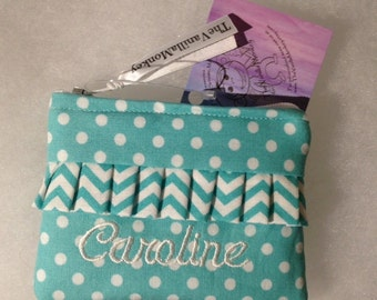 Personalized Coin Purse or Card Case Turquoise Polka Dot with Chevron Ruffle