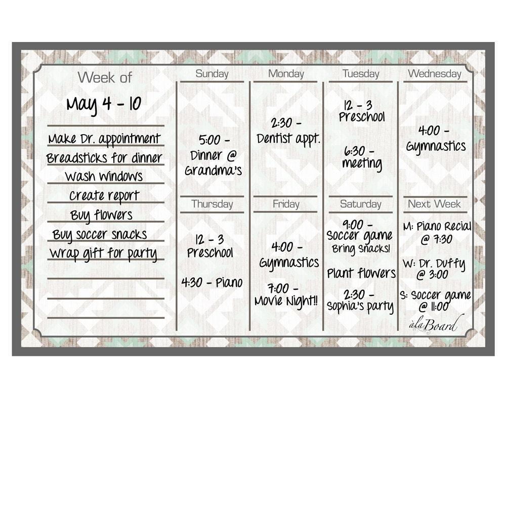 Dry Erase Calendar Magnetic : Weekly fridge magnet calendar dry erase