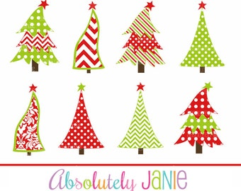 Chevron Damask Christmas Holiday Trees Clipart - Whimsical Digital Clip Art