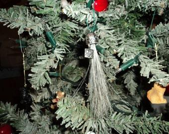 Unique Handmade Custom Shades of Gray Horse Hair Christmas Ornament
