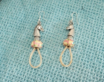 Unique White Flaxen Horse Hair Custom Handmade Earrings Pastel Colors Checkered Lampwork Bead 925 Silver Ear Wires