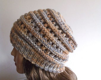 Chunky Women Hat. Wool Hat. Slouchy hat. Hand Knit Hat.