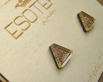 Gold Triangle Glitter Stud Earrings