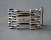 Vintage Tiffany Belt Buckle -  18k Gold and Sterling Silver - Tiffany Radiator Grill Belt Buckle