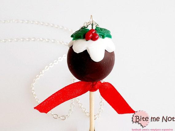 Polymer Clay Christmas Chocolate Cake Pop Necklace, Mistletoe Pendant, Mini Food Jewelry, Miniature Sweet, Kawaii Jewelry, Christmas Jewelry