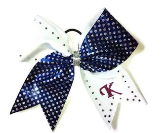 Cheer bow- Royal blue dots-rhinestones and initial