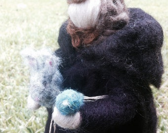 St.Francis waldorf inspired needle felted sculpture MADE TO ORDER