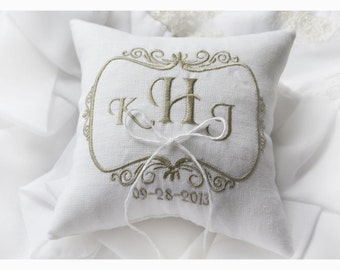 Linen Wedding pillow , wedding pillow , ring bearer pillow, ring bearer pillow personalized wedding pillow (R47)