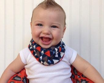 Aztec Baby scarf / toddler scarf / drool bib / hipster scarf / Triangle Blue Grey Orange