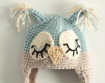 Crocheted Infant Pastel Blue Owl Hat