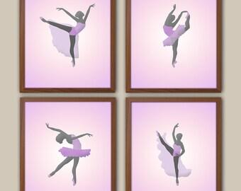 Pink  Girls Wall Art - Ballerina Art - Dancing Art For Girls - Ballerina - Art For Girl - Set Of 4 Prints