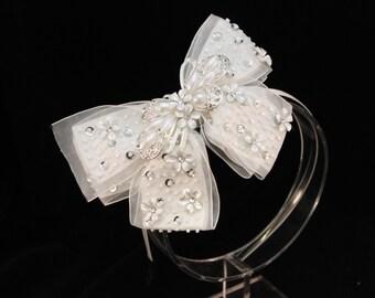 White Bridal Bow Headband