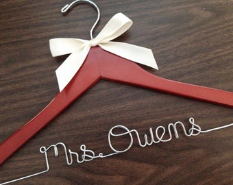 Ships in 1-3 days, Wedding hanger, ships Priority mail in US, wedding photos, bridal, Wire hanger with ribbon, name hanger, bridal hanger,
