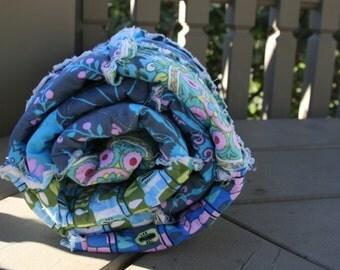 Toddler Quilt, Rag Quilt, Amy Butler, Cameo, Aqua, teal, lime, olive, violet, grey, blue, green, Baby Shower Gift, All Natural, Handmade