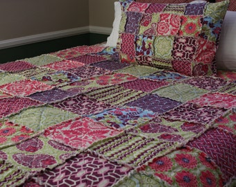 Queen Quilt, Rag Quilt, Joel Dewberry's Heirloom in Sapphire Collection, purple, pink, and green