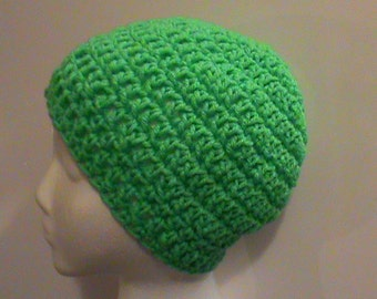 St. Patrick's Day Crochet Hat, Green Crochet Hat, Crochet Hats, Crochet Beanie, Winter Hats, Christmas Hat, Green Hat, Ready to Ship (#128)
