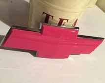 7 inch HHR Chevy Chevrolet bow tie emblem, custom painted pink,no decal,flat rear any model,Breast Cancer Awareness