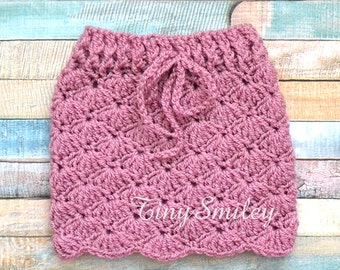 Mauve Baby Girl Skirt, Crochet Baby Skirt, Baby Girl Skirt, Lace Baby Girl Skirt