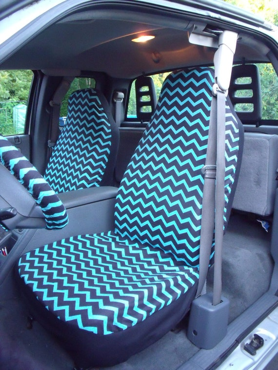 1 Set Of Black/Turquoise Chevron  Print  Car Seat covers and  Steering Wheel Cover Custom Made.
