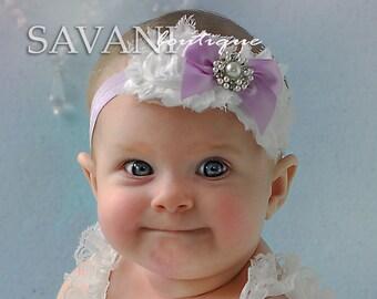 Baby headband, lavender and white  Baby headband, vintage headband, shabby chic roses headband, headband