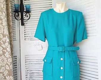 Teal Secretary Dress with Matching Belt White Buttons Sort Sleeves and Front Patch Pockets by Henry Lee Petites