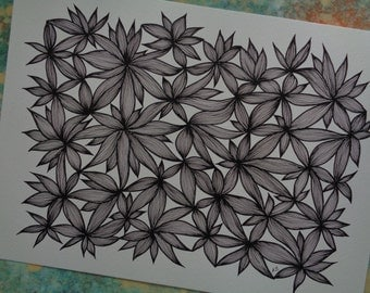 """Black and White Floral Painting / Abstract Art Print  of Original Line Drawing , Size 11""""X15"""""""