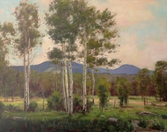 Karl Thomas Plein Air Painting Oil on Canvas Alpine Aspen Trees Mountain Lanscape Plein Air Impressionism