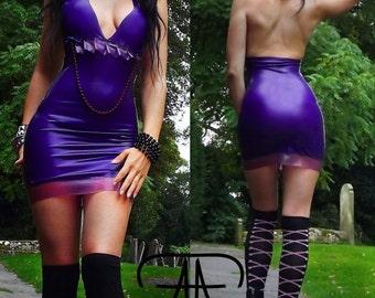 Made to order. Purple Love latex dress.