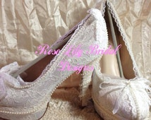 Natasha vintage inspired pearl and lace shoes