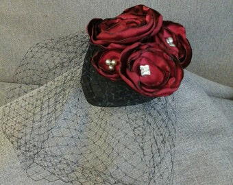 WINE AND ROSES Fascinator Hat with Cage Veil