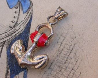 French vintage silver  medal anchor pendant sterling silver red enamel  medal coat of arms pendant necklace