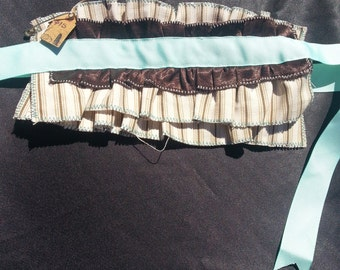 Cream, Brown, and Teal Wrist Ruffle Cuffs
