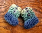 Handmade Crocodile Stitch Crochet Baby Booties - Blue/Green