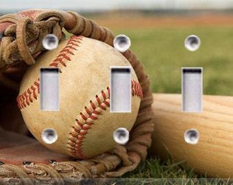 Baseball Triple Light Switch Cover