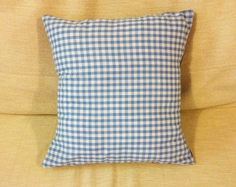 Blue gingham check cushion - Handmade - 30x30cm