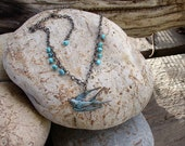 Patinated Barn Swallow Necklace
