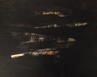 """BLACK GLOW - large original modern abstract wall decor painting, size: 30"""" X 52"""" (77 X 132 cm)"""