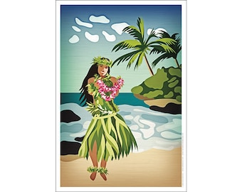 Hawaiian Hula Girl Poster