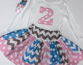 birthday outfit birthday skirt set chevron skirt number applique top embroidered shirt girl birthday outfit pink gray blue polka dot chevron