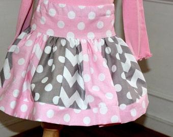 chevron skirt chevron polka dot  skirt pink and gray skirt polka dot skirt Easter skirt girl chevron skirt birthday skirt girl skirt