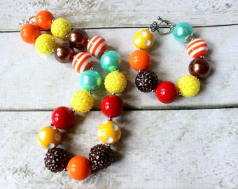 Thanksgiving bubblegum fall necklace set for girls. Yellow orange brown red and aqua girl necklace. Rhinestone and pearl birthday necklace.