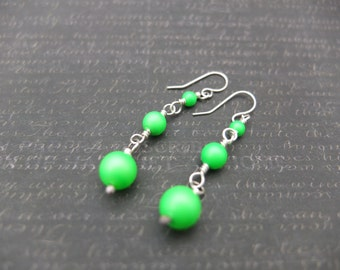 Seattle Seahawks inspired handmade neon green and sterling silver earrings