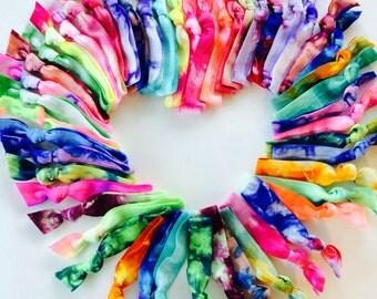 50 Tie Dye Hair Ties Ponytail Holders by Elastic Hair Bandz