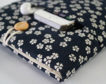 iPad Mini Sleeve, iPad Mini Case, iPad Mini Cover, Kindle, Nook, Nexus pouch With Pocket - Japanese sakura indigo cotton