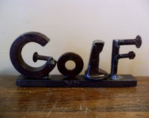 Welded Recycled Metal Found Object Word Sculpture